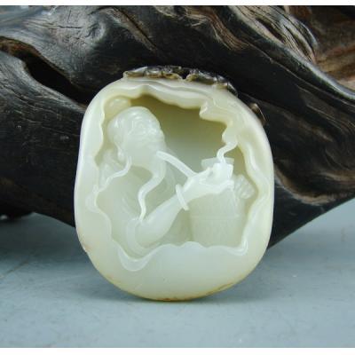 重54克新疆和田玉褐皮白玉籽玉 渔翁得利