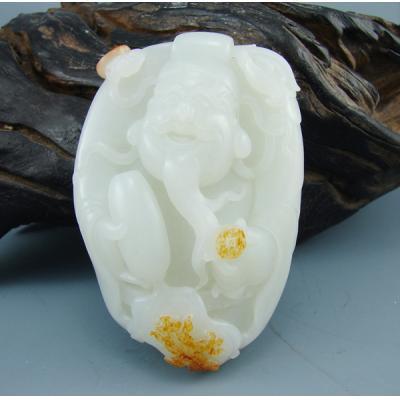 重278克新疆和田玉洒金皮一级白玉籽玉 财神