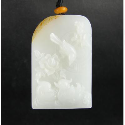 重42克 新疆和田玉黄皮一级白玉籽玉 花好月圆