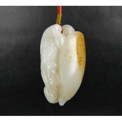 重76.8克 新疆和田玉洒金皮白玉籽玉 龟鹤齐龄