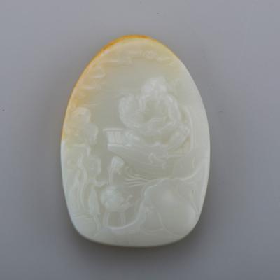 中国工艺美术百花奖银奖 付雪飞工作室 重121克 新疆和田玉洒金皮羊脂白玉籽玉 渔翁