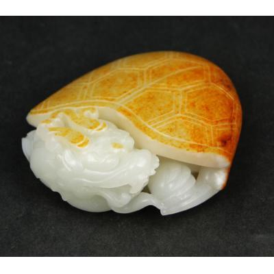 重210克 新疆和田玉枣红皮白玉籽玉 龙龟