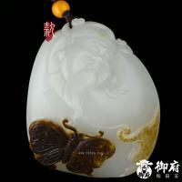 新疆和田玉枣红皮白玉籽玉把件 耄耋富贵 80克