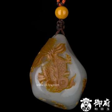 新疆和田玉枣红皮籽玉挂件 金玉满堂 26.1克