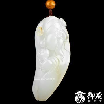 新疆和田玉黄皮白玉籽玉挂件 财神 42.5克