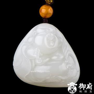新疆和田玉黄皮白玉籽玉挂件 笑佛 26.5克