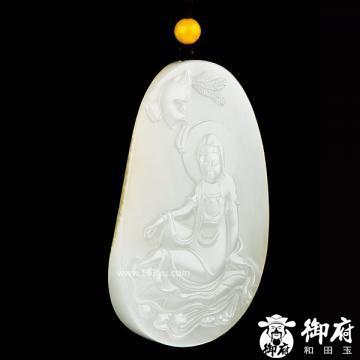 新疆和田玉黄皮白玉籽玉挂件 凤凰观音 60克