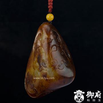 新疆和田玉枣红皮白玉籽玉把件 龙纹兽面 81.2克