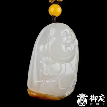 新疆和田玉枣红皮白玉籽玉挂件 佛 26.3克