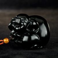 新疆和田玉墨碧籽玉把件 喜猪 103.4克