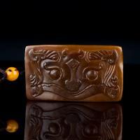 新疆和田玉枣红皮籽玉挂件 仿古兽面 12.5克