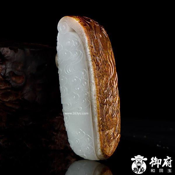 新疆和田玉枣红皮一级白白玉籽玉小摆件 龙凤呈祥 339克
