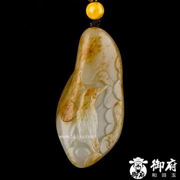 新疆和田玉撒金皮白玉籽玉把件 荷花翠鸟 55.4克