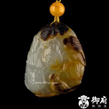 新疆和田玉黑皮白玉籽玉挂件 花开富贵 30.5克