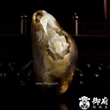 新疆和田玉褐皮白玉籽玉摆件 一路连科 158.5克