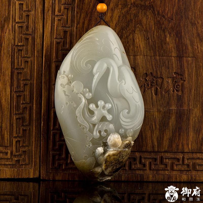 新疆和田玉褐皮白玉籽玉把件 龟鹤延年 95.5克
