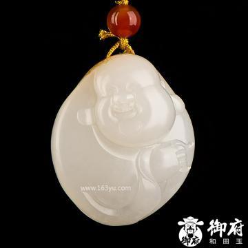 新疆和田玉黄皮一级白玉籽玉挂件 弥勒笑佛 20.3克