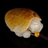 新疆和田玉洒金皮白玉籽玉把件 龟鹤延年 157克