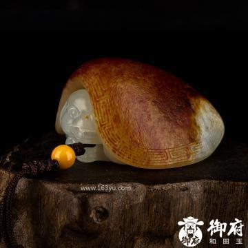 新疆和田玉枣红皮白玉籽玉把件 龙龟 66.4克