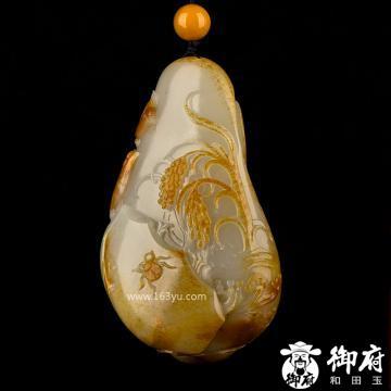 新疆和田玉红皮白玉籽玉把件 岁岁平安 119.6克