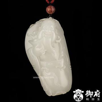 新疆和田玉黄皮羊脂白玉籽玉把件 财神 110.3克