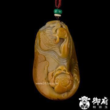 新疆和田玉黄皮白玉籽玉把件 鹅衔如意 163.5克