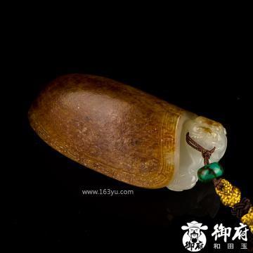 新疆和田玉褐皮白玉籽玉把件 龙龟 70.6克