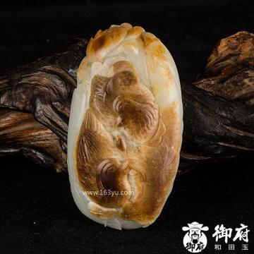 新疆和田玉褐皮白玉籽玉摆件 相濡以沫 500克