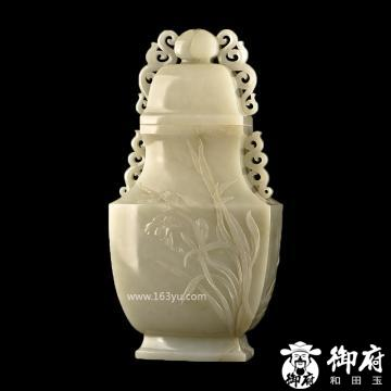 新疆和田玉白玉籽玉摆件 花卉天然瓶 高27.5cm 约2600克