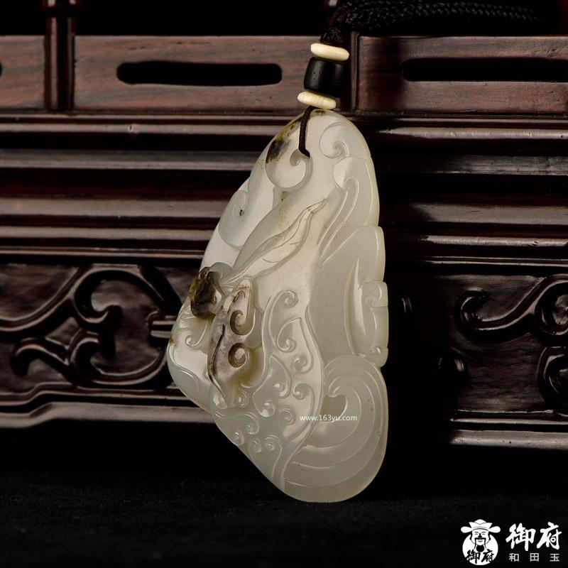 新疆和田玉褐皮白玉籽玉挂件 如意凤凰 44.9克