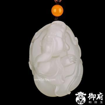 新疆和田玉原毛孔皮一级白玉籽玉把件 布袋财神 128.3克