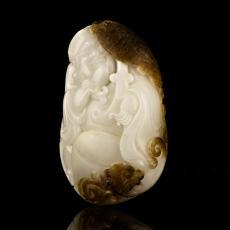 新疆和田玉褐皮鸡骨白白玉籽玉把件 英雄 145克