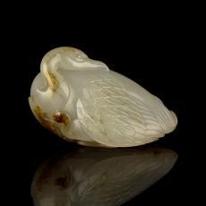 新疆和田玉褐皮籽玉挂件 母子情深 35.5克