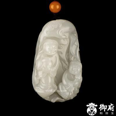 新疆和田玉黄皮白玉籽玉把件  和合二仙 134.2克