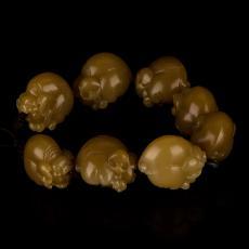 新疆和田玉黑皮糖玉籽玉手链 喜猪手链 122.5克