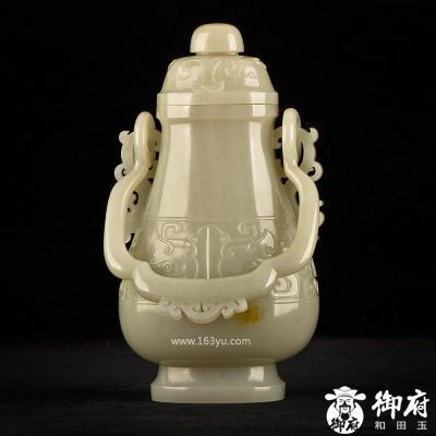 新疆和田玉黄皮籽玉摆件 兽面龙耳提梁瓶 高18.1cm 1843.6克