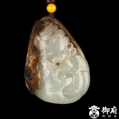 新疆和田玉褐皮白玉籽玉挂件 龙凤呈祥 87.4克