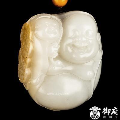 新疆和田玉黄皮白玉籽玉把件 喜上加喜 82.6克