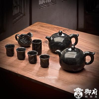 新疆和田玉墨玉摆件 茶具 1825.1克