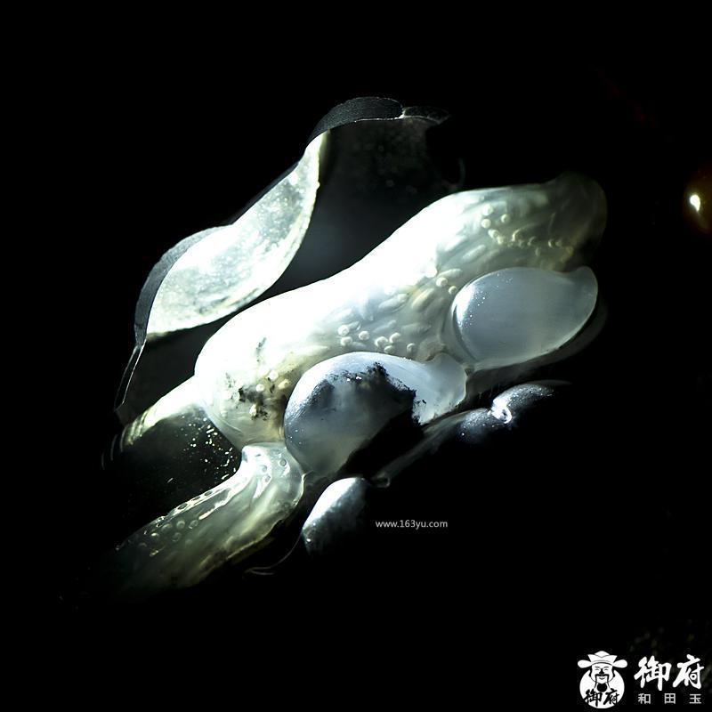 新疆和田玉原毛孔皮墨玉籽玉把件 生生有子 93.5克