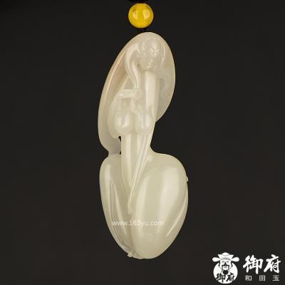 新疆和田玉洒金皮白玉籽玉挂件 裸女 20.8克