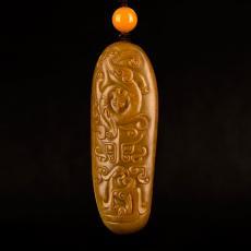 新疆和田玉原毛孔皮黄玉籽玉把件 仿古龙凤 60.4克