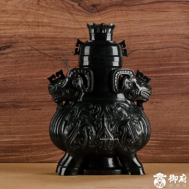 新疆和田玉青玉摆件 仿古双羊尊瓶(高23.1CM) 2146克