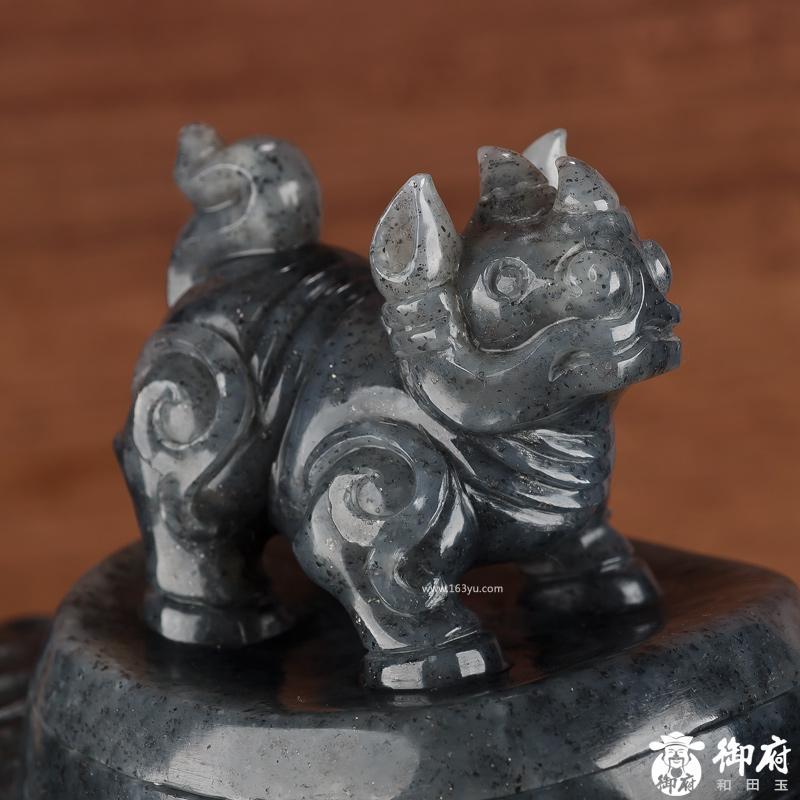 新疆和田玉青花籽玉摆件 犀牛尊 2848克