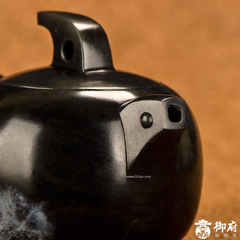 新疆和田玉墨玉籽玉摆件 茶壶 132.0克