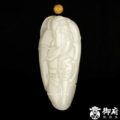 新疆和田玉原毛孔皮羊脂白玉籽玉把件 掌印关公 104.2克