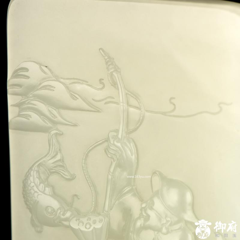 新疆和田玉原毛孔皮白玉籽玉玉牌 渔翁得利 100.2克