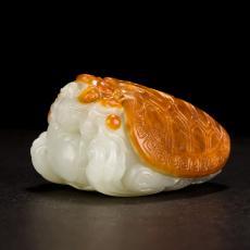 新疆和田玉枣红皮白玉籽玉把件 龙龟 266.5克