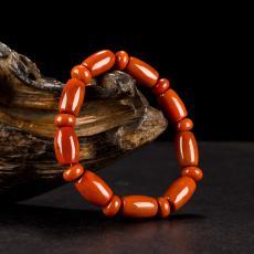 南红玛瑙桶珠手串 42.5克