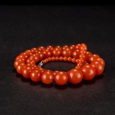 南红玛瑙圆珠项链(73颗) 83.7克